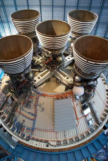 USA, Florida, Kennedy Space Center, Saturn V second stage engines : Stock Photo