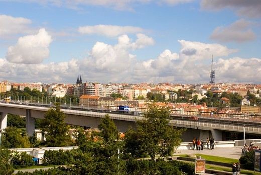 Stock Photo: 4404-1428 Czech Republic, Prague, Skyline from Congress Centre in Vysehrad area