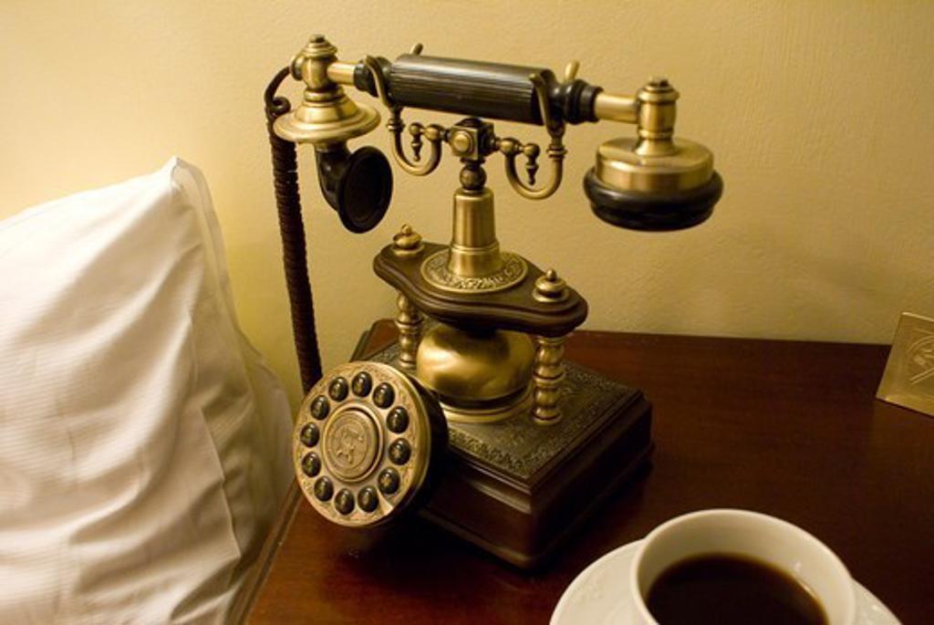 Stock Photo: 4404-1432 Mock antique hotel telephone