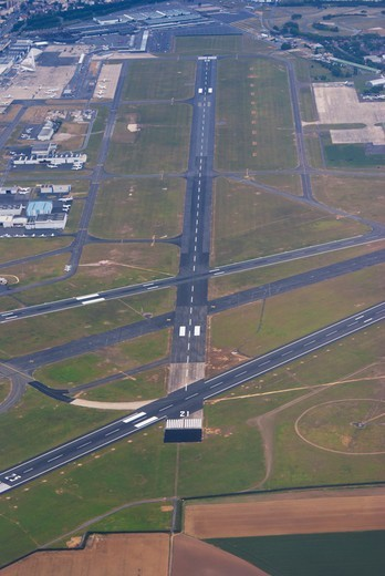 Aerial view of an airfield, Paris-Le Bourget Airport, Paris, Ile-de-France, France : Stock Photo