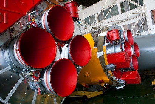 Stock Photo: 4404-1564 Soyuz rocket boosters in assembly hall at Baikonur Cosmodrome, Kazakhstan