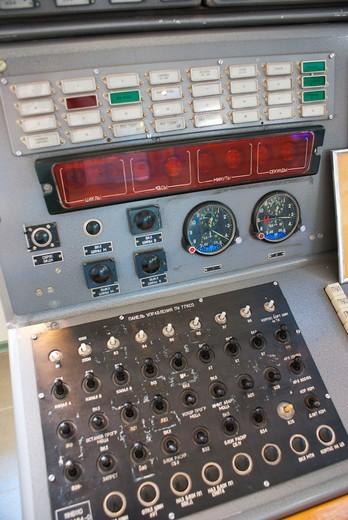 Launch control console in Baikonur Cosmodrome, Kazakhstan : Stock Photo