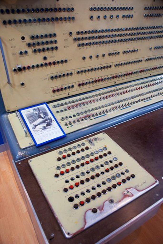 Stock Photo: 4404-1608 Control console in a museum, Baikonur Space Museum, Baikonur Cosmodrome, Kazakhstan