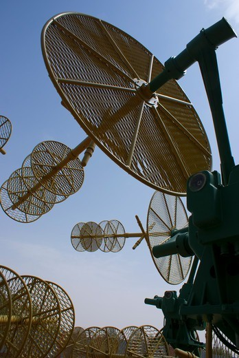 Tracking antennas at a museum, Baikonur Space Museum, Baikonur Cosmodrome, Kazakhstan : Stock Photo