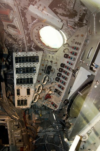 USA, California, Los Angeles, California Science Center, Interior of Mercury-Redstone 2 capsule (that carried chimpanzee Ham into space) : Stock Photo