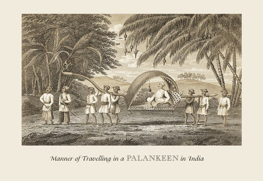 Stock Photo: 4408-10076 Travelling in a Palankeen, India