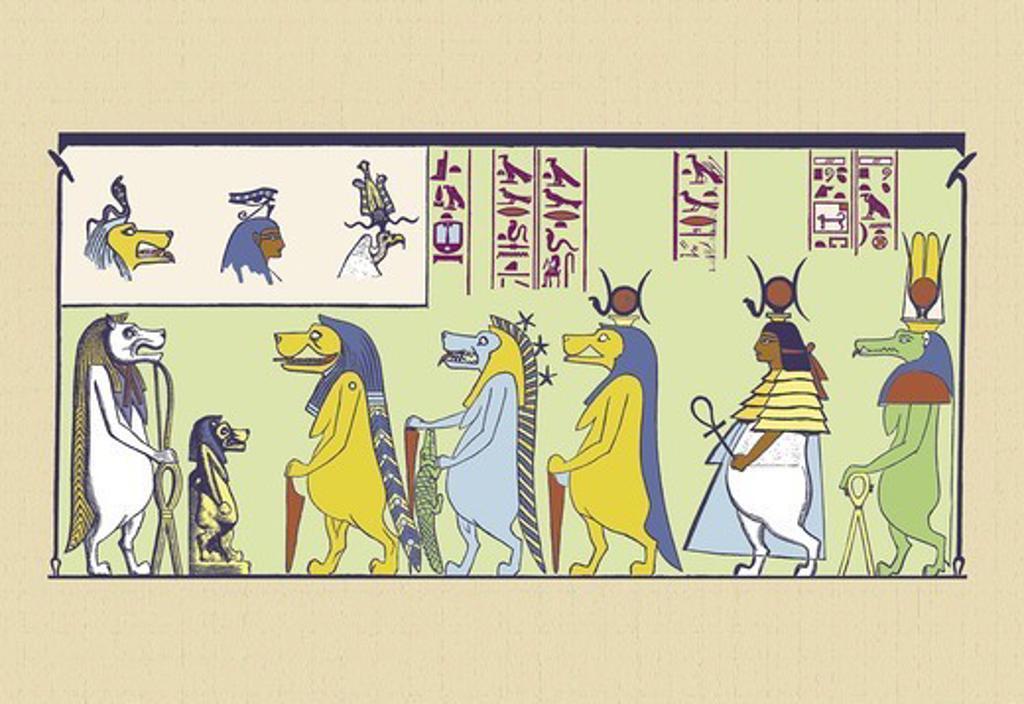 Stock Photo: 4408-10832 Taur, Thoueris and S'epu, Ancient Egypt
