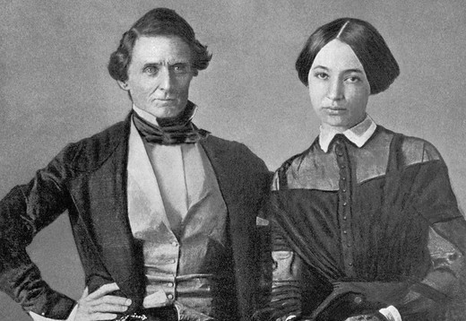 Jefferson Davis & His Wife, Civil War - USA : Stock Photo