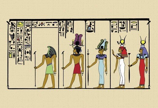Stock Photo: 4408-10873 Horus, Ras, Isis and Ra-Ta, Ancient Egypt