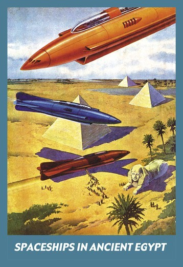 Spaceships in Ancient Egypt, 1940's Visions of the Future : Stock Photo