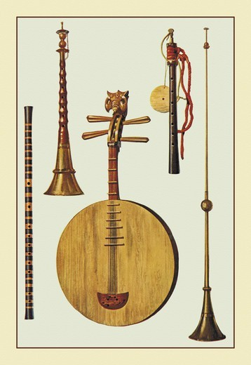 Stock Photo: 4408-11759 Chinese and Japanese Instrumnets, Musical Instruments