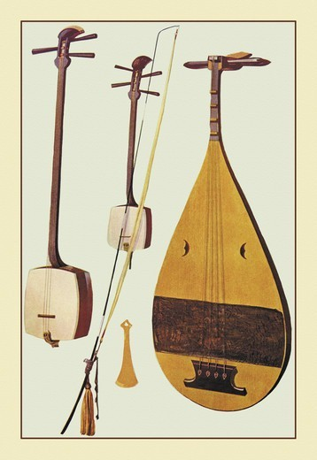 Stock Photo: 4408-11761 Siamisen, Kokiu, Biwa, Musical Instruments