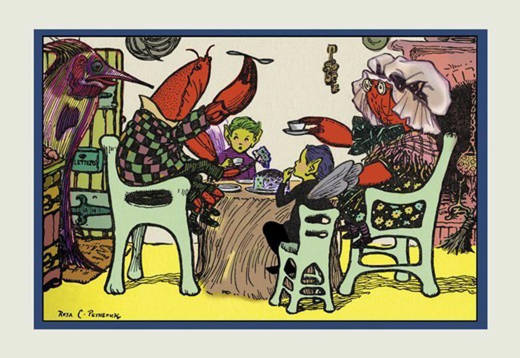 Having Cake Mr. Caterpillar Crab and Dame Crabby, Rosa Petherick : Stock Photo