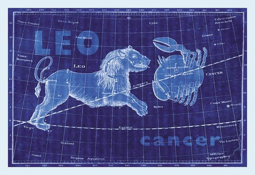 Stock Photo: 4408-11793 Cancer and Leo #3, Celestial & Astrological Charts