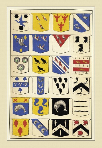 Stock Photo: 4408-11828 Examples of Blazonry - Henrondon, Fisher, Eglefelde, et al., Heraldry - Emblems & Orders