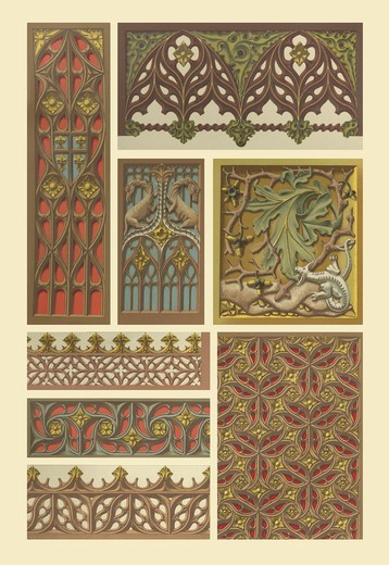Stock Photo: 4408-11902 Medieval Woodwork, Designs & Patterns from History
