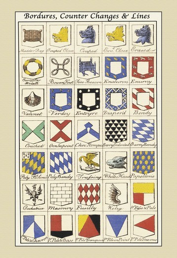 Stock Photo: 4408-11962 Bordures, Counter Changes and Lines, Heraldry - Symbols