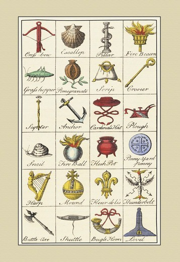 Stock Photo: 4408-11971 Heraldic Symbols - Crossbow, Escallop, et al., Heraldry - Symbols