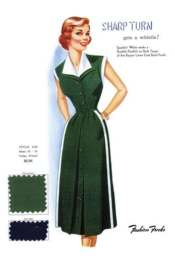 Sharp Turn Gets a Whistle, Fashion Frocks - America 1940's : Stock Photo