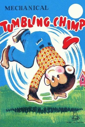 Stock Photo: 4408-13159 Mechanical Tumbling Chimp, Vintage Toy Box Art