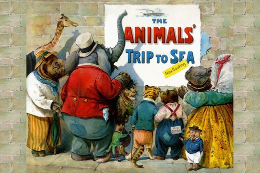 Stock Photo: 4408-13195 Animals Trip to the Sea, Anthropomorphic Animals