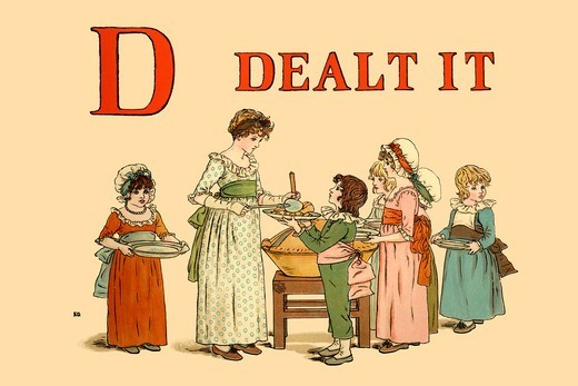 Stock Photo: 4408-13464 D Dealt It, Victorian Children's Literature - Kate Greenaway