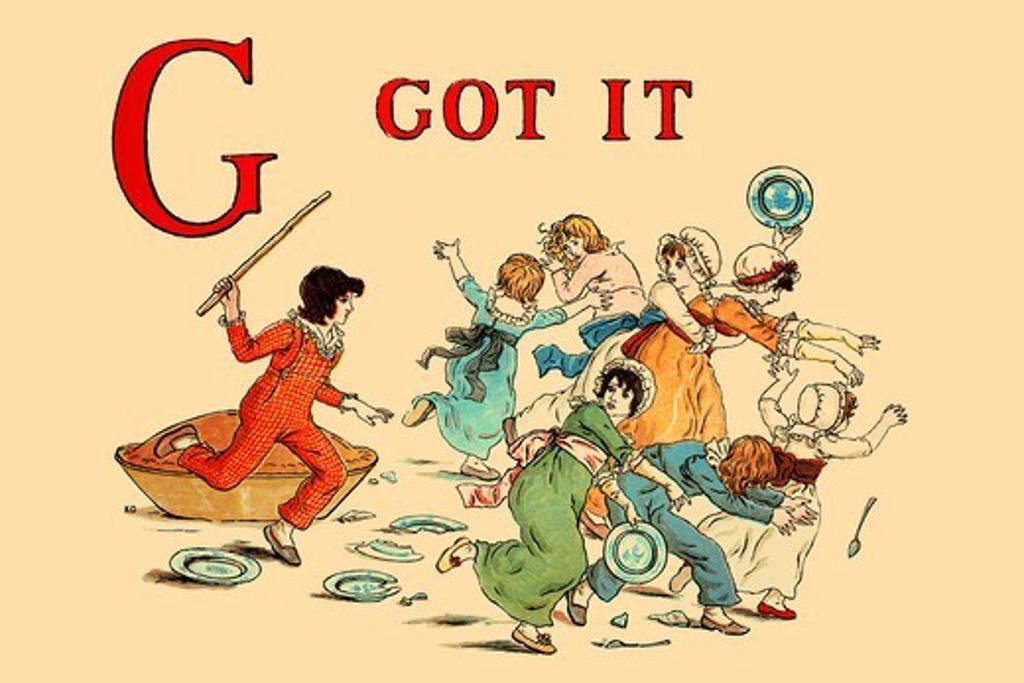 G - Got It, Victorian Children's Literature - Kate Greenaway : Stock Photo