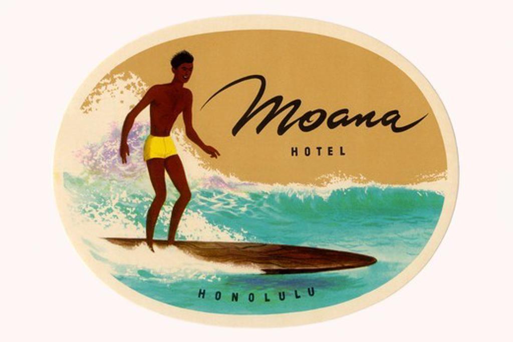 Moana Hotel Luggage Label, Surfing : Stock Photo