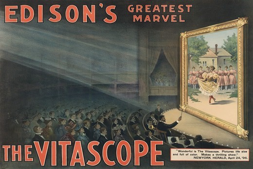 Edison's greatest marvel--The Vitascope, Vintage Film Posters : Stock Photo