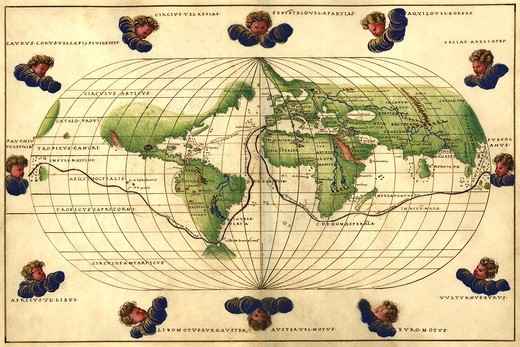 Stock Photo: 4408-14228 Winds of the World, Antique World Maps