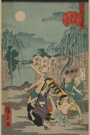 Porters drop a man being carried in a Sedan Chair, Japanese Prints - Nature : Stock Photo