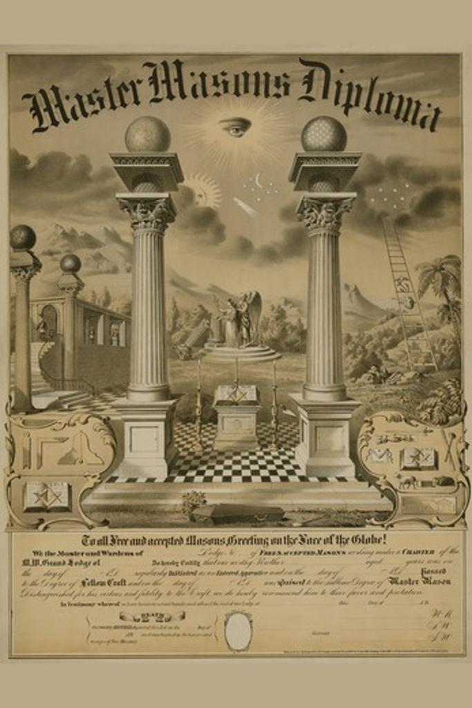 Masonic Symbols - Master Masons Diploma, Masonic : Stock Photo