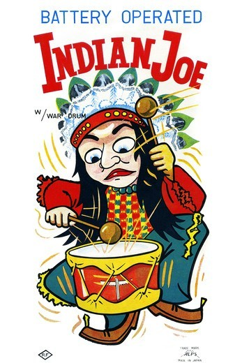 Stock Photo: 4408-14917 Battery Operate Indian Joe, Vintage Toy Box Art