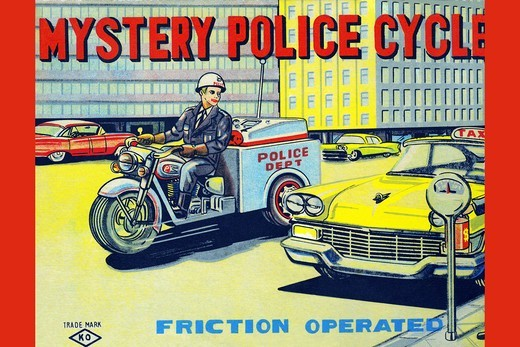 Stock Photo: 4408-14925 Mystery Police Cycle, Vintage Toy Box Art