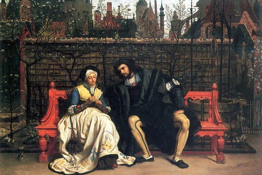 Faust and Marguerite in the garden , Fine Art : Stock Photo