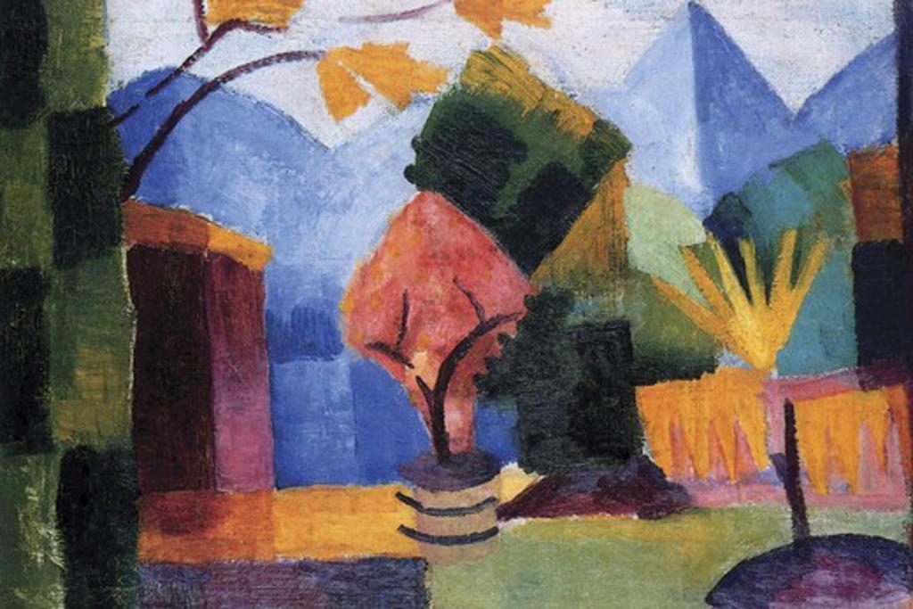 Stock Photo: 4408-15471 Garden on the lake of Thun , Fine Art