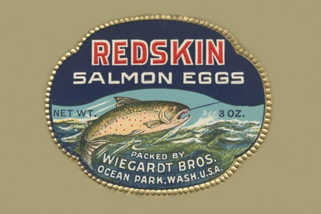 Redskin Salmon Eggs, Advertising : Stock Photo