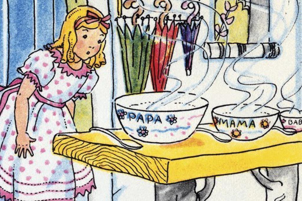 Goldilocks and the Poridge Bowls, Children's Literature : Stock Photo