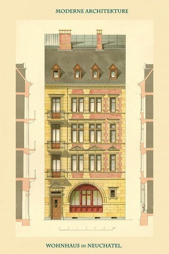 Stock Photo: 4408-18379 Residence in Neuchatel, Germany 1890-1930