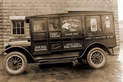 Stock Photo: 4408-1852 Harry H. Redfearn & Co. Delivery Truck - Good Luck Evaporated Milk & Cheese, Trucks