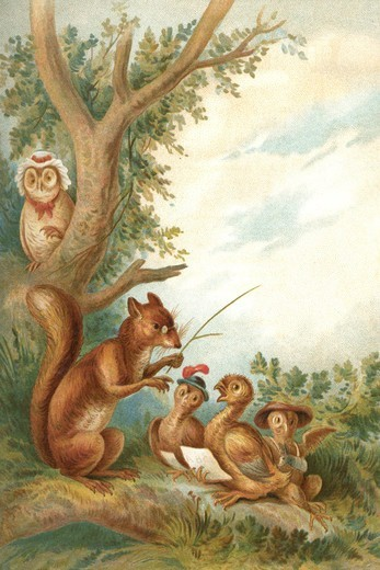 Stock Photo: 4408-18891 Squirrel Teaches Ducks , Children's Literature