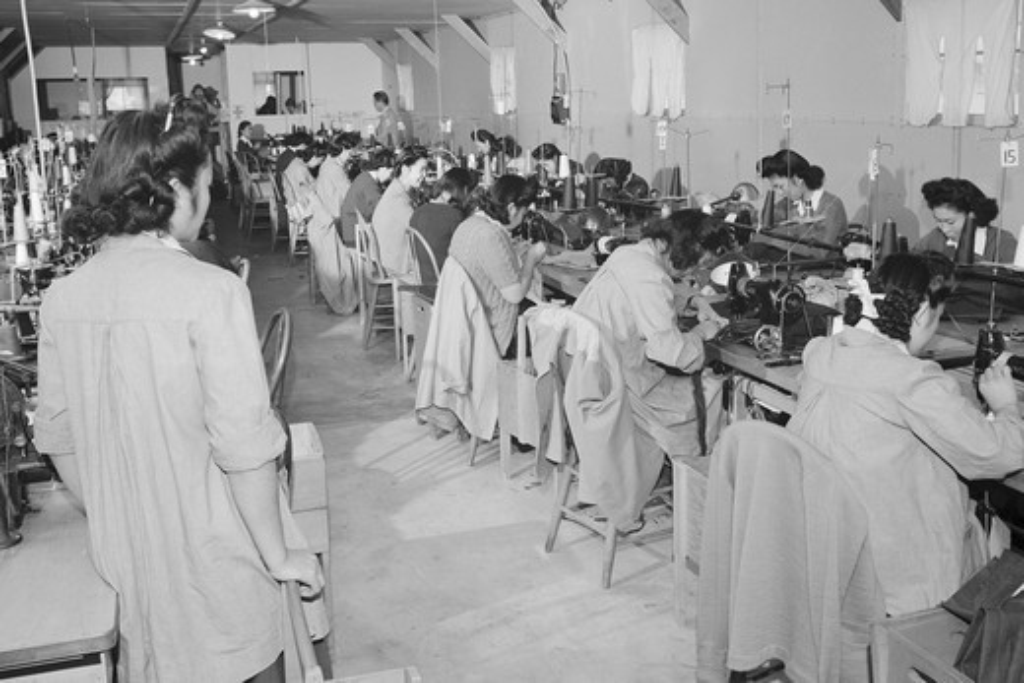 Stock Photo: 4408-2153 Sumiko Shigematsu, foreman of power sewing machine girls, , Ansel Adams