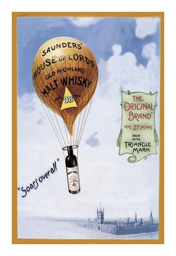 Saunders's House of Lords Whiskey , Hot Air Balloons & Derigibles : Stock Photo