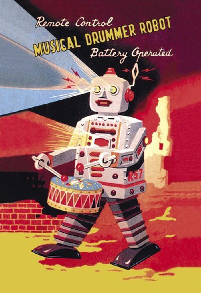Stock Photo: 4408-3572 Musical Drummer Robot, Robots, ray guns & rocket ships