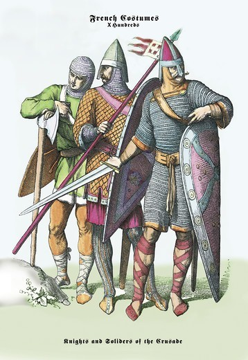 French Costumes: Knights and Soldiers of the Crusades, Medieval Fashion - Racinet : Stock Photo