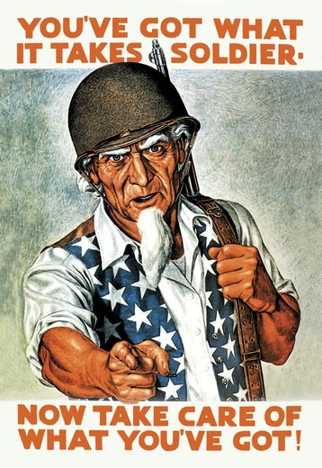Stock Photo: 4408-4833 You've Got What It Takes, Soldier - Now Take Care of What You've Got!, Uncle Sam
