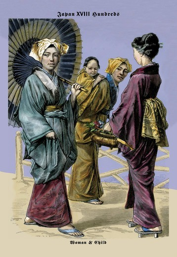 Japanese Women and Child, 19th Century, Exotic Costumes from Antiquity to 1800 : Stock Photo