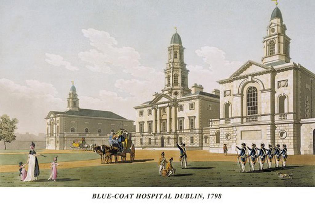 Stock Photo: 4408-5290 Blue-Coat Hospital Dublin, 1798, James Malton