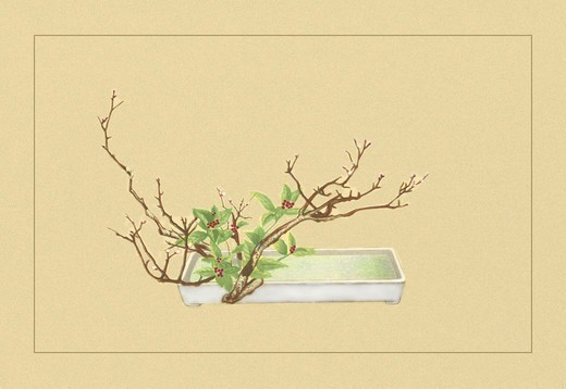 Stock Photo: 4408-5390 Plum and Chloranthus Brachystchys, Ikebana
