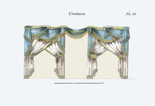 Stock Photo: 4408-5541 Croisees No. 31, Interior Design - French Drapes